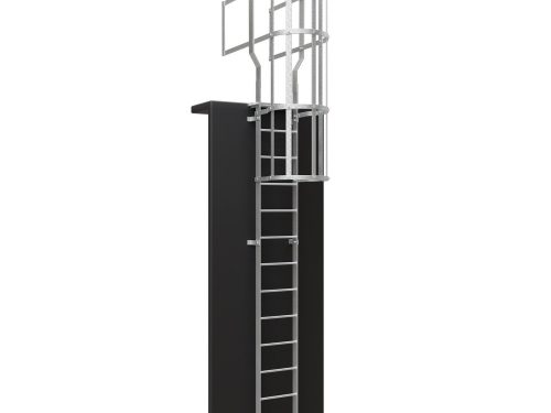 Standard Vertical Ladder with Walkthrough and Cage Galvanised - 1500x1500