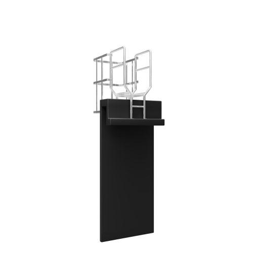 Vertical Ladder with Cage, Walkthrough & Parapet Platform Back 1500 x 1500